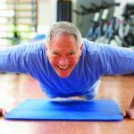older man doing pushups