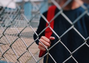 student in schoolyard