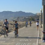 cyclists and walkers in Santa Monica