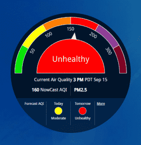 AQI dial showing unhealthy air quality in LA