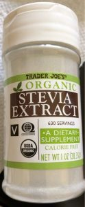 bottle of stevia extract